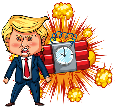 President Trump and time bomb illustration