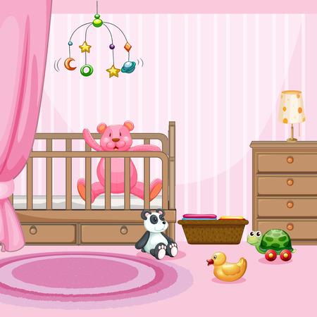 Bedroom scene with pink teddybear in babycot illustration