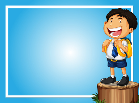 Frame template with happy boy on log illustration Vectores