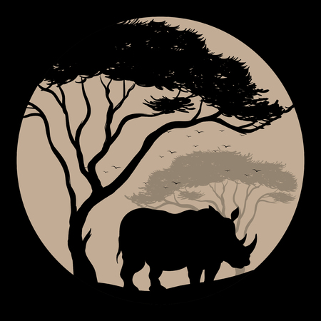 Silhouette background with rhino under the tree illustration