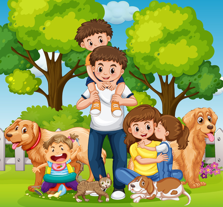Family with kids and pets in the park illustration