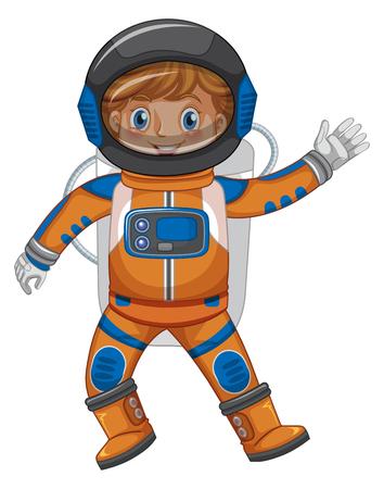Kid in astronaut outfit on white background illustration Ilustração