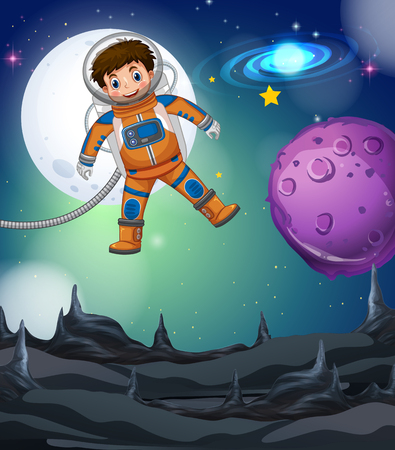 Astronaut flying in the deep galaxy illustration
