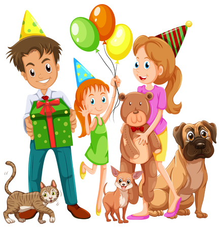 Family with daughter and many pets illustration