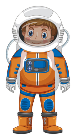 Happy boy in astronaut costume illustration Stok Fotoğraf - 96263766