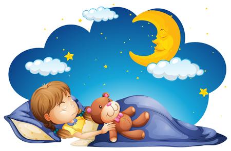 Girl sleeping with teddybear at night illustration 일러스트