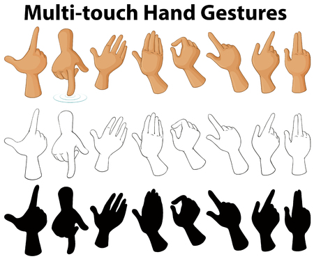 Chart showing multi-touch hand gestures illustration Illustration