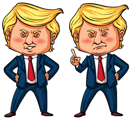 President Trump in two actions illustration