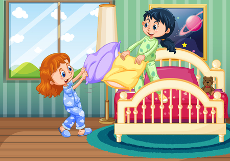 Two girls play pillow fighting in bedroom illustration