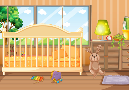 Bedroom scene with toys and babycot illustration