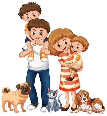 Family with two boys and pets illustration