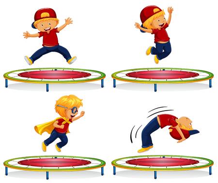 Boy jumping on red trampoline illustration