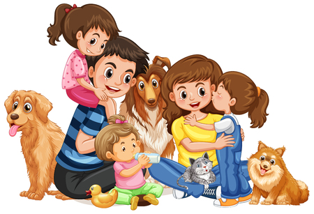 Happy family with four kids and pets illustration