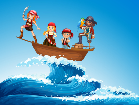 Pirates on ship in the sea illustration Illustration