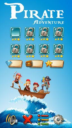 Game template with pirate adventure theme illustration