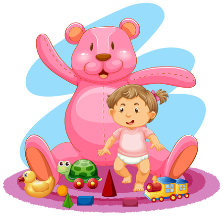 Baby girl and pink teddybear illustration Illustration