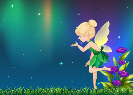 Cute fairy flying in garden at night illustration Иллюстрация