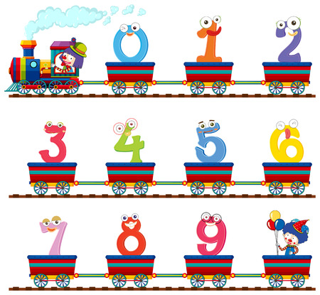 Number zero to nine on the train illustration