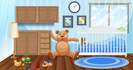 Slaapkamerscène met witte babybedje en poppenillustratie