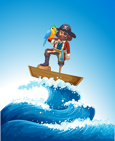 Pirate and parrot pet on wooden boat illustration