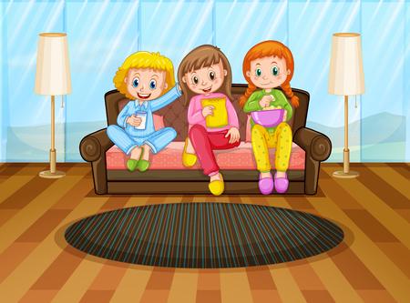 Three girls eating snacks in living room illustration