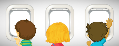 Three kids looking out airplane windows illustration