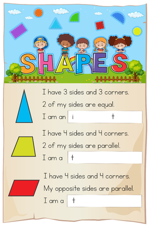 Math worksheet template for shapes illustration