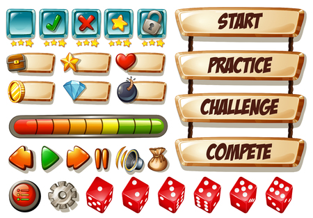 Game elements with dices and other icons illustration
