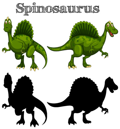 Two spinosaurus on white background illustration