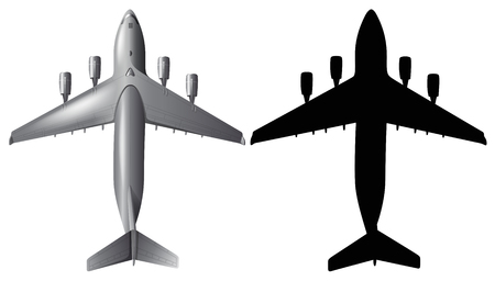 Airplane design with silhouette on white background illustration