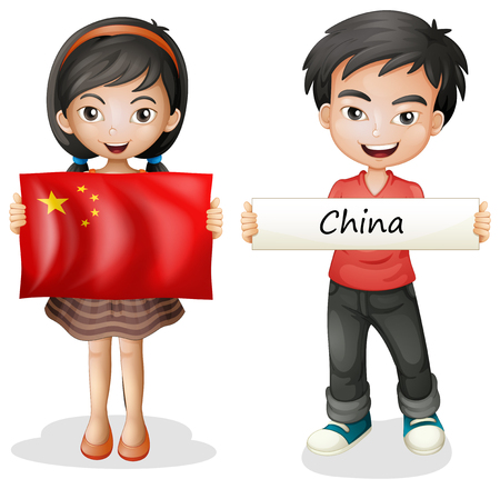 Boy and girl with China flag illustration