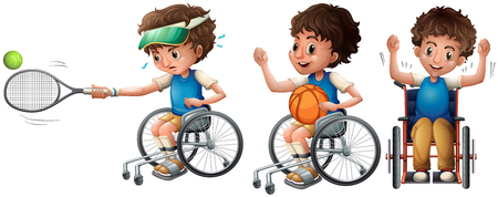 Boy in wheelchair playing tennis and basketball illustration