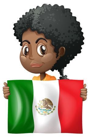 Girl holding flag of Mexico illustration 向量圖像