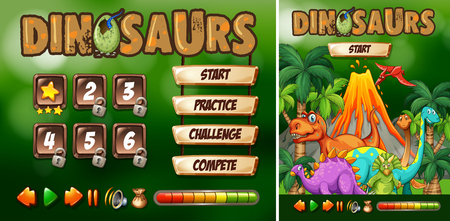 Game template with dinosaur theme illustration
