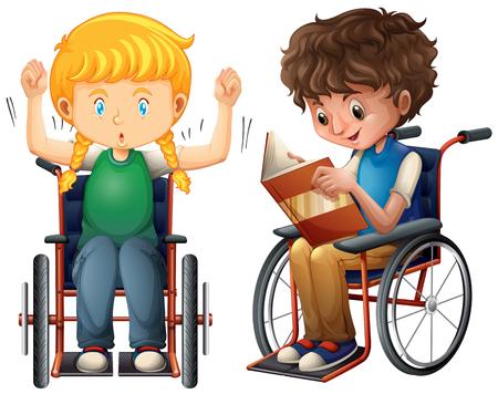 Meisje en jongen in rolstoel vectorillustratie. Stockfoto - 98996834