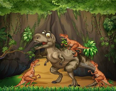 T-Rex fighting raptors in forest illustration