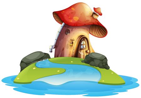 Mushroom house on island illustration Illustration