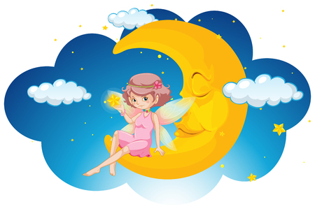Cute fairy sitting on moon at night illustration