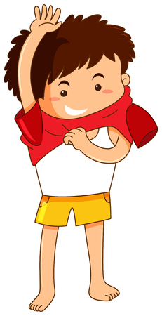 Little boy getting dress illustration Illustration