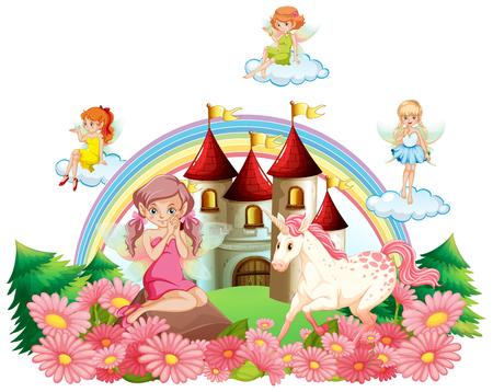 Fairies and unicorn at the palace garden illustration