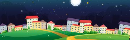 Village scene at night time illustration