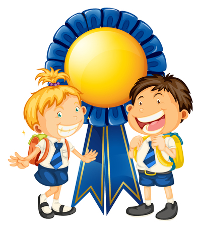 Boy and girl in school uniform vector illustration.