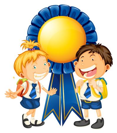 Boy and girl in school uniform vector illustration.