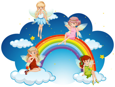 Fairies flying over the rainbow  illustration Çizim