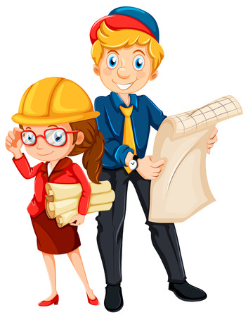 Male and female engineer with blueprint illustration