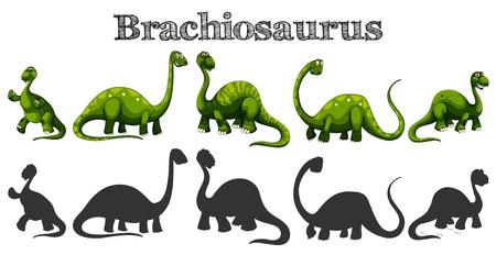 Brachiosaurus in five different actions illustration.