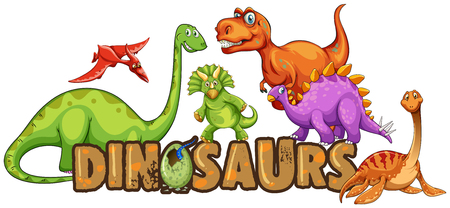 Word design for dinosaurs illustration