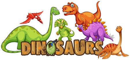 Word design for dinosaurs illustration Stock Vector - 98944905