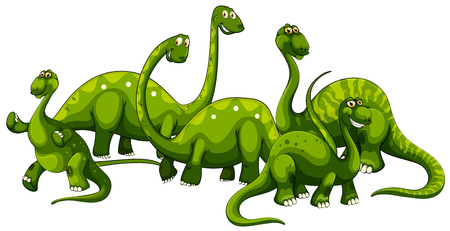 Brachiosaurus family on white background illustration.
