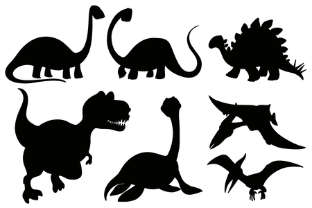 Silhouette dinosaurs on white background illustration.